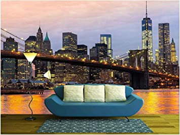 Wall26 Manhattan Skyline At Sunrise New York City Usa Removable Wall Mural Self Adhesive Large Wallpaper 66x96 Inches Amazon Com