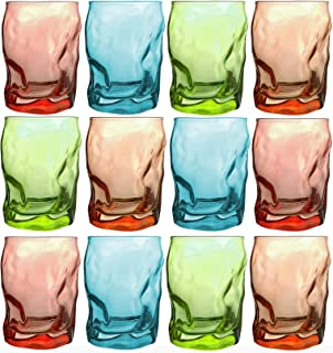 Bormioli Rocco - Trinkgläser | farbig | 12-teiliges Set | 300ml | grün, türkis, rot, orange | Glas | 11 x 7,5 x 7,5 cm | Außergewöhnliche Gläser - geknitterte Design