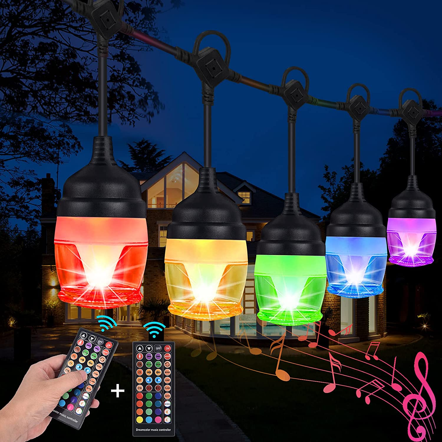 Fulllove 41-Ft  Dimmable 12-RGB Color Outdoor String Lights $16 Coupon