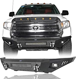 Hooke Road Pickup Truck Full Width Front Bumper w/120W LED Light Bar for 2014-2019 Toyota Tundra Regular Cab Double Cab Crewmax