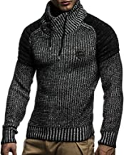Leif Nelson Men's Knitted Pullover   Long-sleeved slim fit Knitwear   Biker-Style sweatshirt with shawl collar for Men
