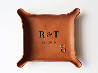 "Leather Personalized Leather Catchall Tray (Large (7""x8""), Cognac Brown)"