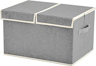 House of Quirk Linen Fabric Foldable Storage Cubes Bin Box Containers with Lid and Handles for Nursery, Closet, Kids Room, Toys, Baby Products for Underwear, Bras, Socks, Ties, Scarves - Grey