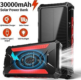 Banco de energía Solar 30000mAh, Cargador Solar portátil Cargador inalámbrico Qi, Salidas 5V 3A de Alta Velocidad y entradas duales Paquete de baterías de Gran Capacidad para teléfonos Inteligentes