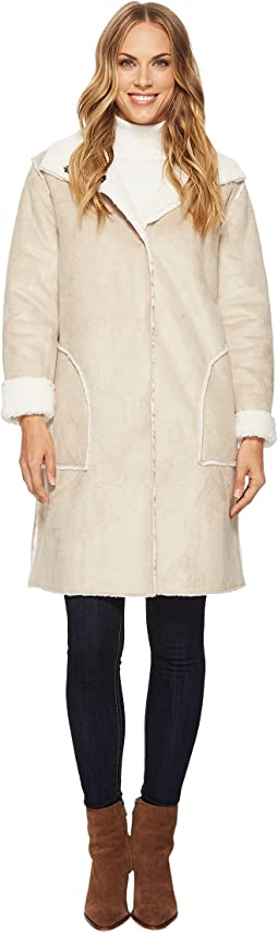 Dylan by True Grit - Velvet Suede & Faux Fur Mock Neck Coat with Snap & Patch Pockets