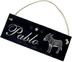 Bord leisteen bord met gravure - Ezel - gewenste naam Stall naambordje 22x8cm