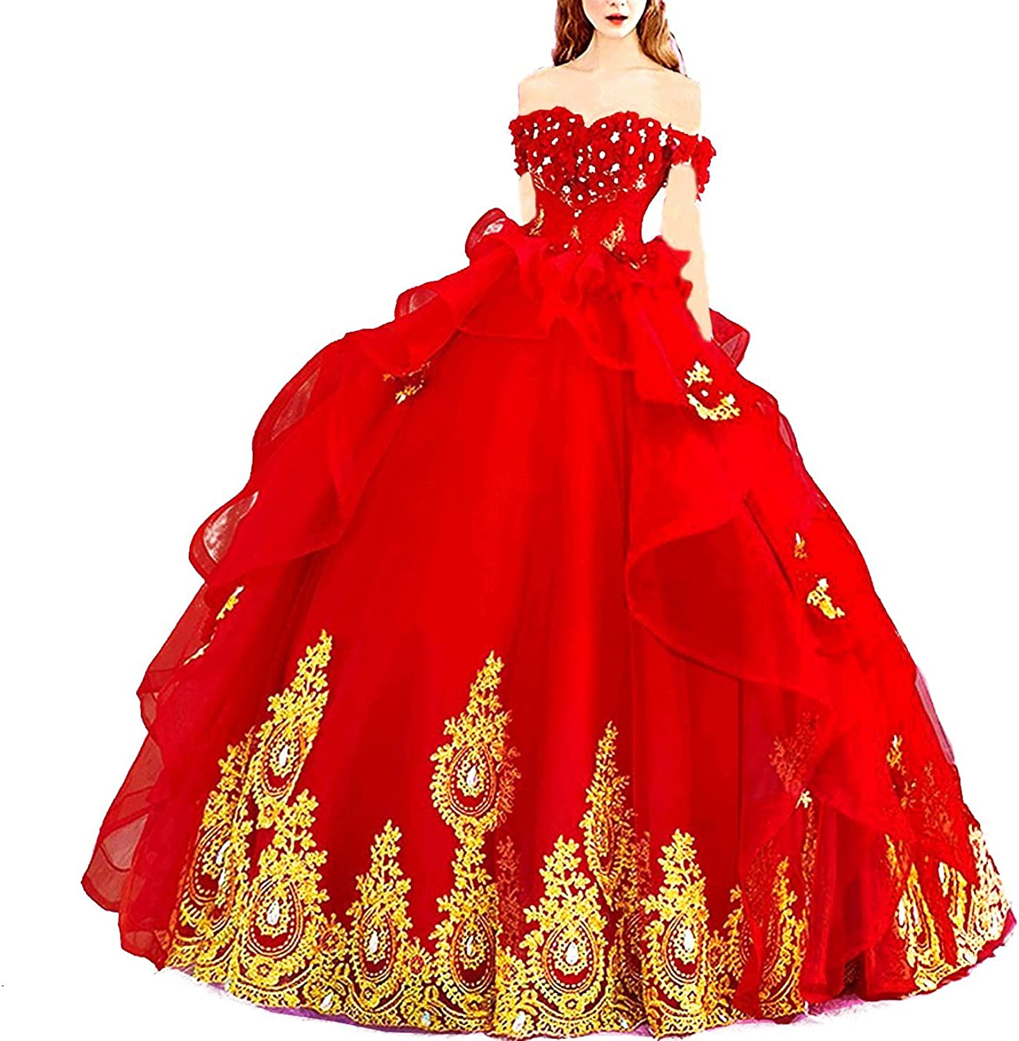 Off Shoulder Sweet 2021new Los Angeles Mall shipping free 16 Prom Ball Cosplay Princess Gown Beaded Qui