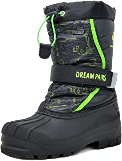 DREAM PAIRS Little Kid Kamick Black N.Green Mid Calf Waterproof Winter Snow Boots Size 12 M US Little Kid