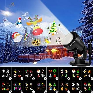 Albrillo Luces de Proyección LED para Navidad - Lámpara de Proyector con 16 Diapositivas Cambiables, IP44 Impermeable, como Decoración Interior y Exterior para Fiesta de Cumpleaños, Boda, Halloween