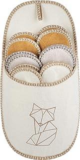 ONVAYA® ABS Pantofole per gli ospiti | Motivo volpe | Colore crema | Set di 6 | Suola antiscivolo | Pantofole | Pantofola ...