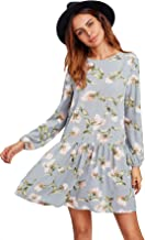 Floerns Women's Floral Print Long Sleeve Drop Waist Dress