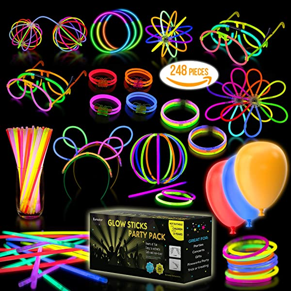 Multicolor Glow Sticks Bulk Party Pack 248 Piece Light Stick Set Includes 100x 8 Glow Sticks 10x 11 Glow Sticks 4x 3 Hole Joints 110x Connectors 4x Butterfly Bracelets 5x Ball Joints 2x Hair Accessories 8 Glasses Accessories And 5x LED Balloons Safe And Non Toxic
