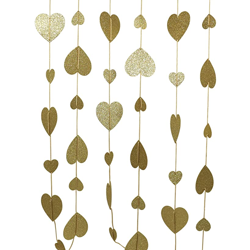 CVHOMEDECO. Golden Twinkle Glittered Paper Heart Shape String Garland Unique Hanging Bunting Banner for Wedding Birthday Party Festival Home Background Decoration, 5.5 feet, Pack of 2 PCS (Golden)