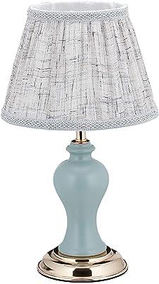relaxdays 10036767 Lampe de Table dans Design Retro, HxD 42 x 25 cm, Douille E27, Socle, Abat-Jour, Gris Bleu