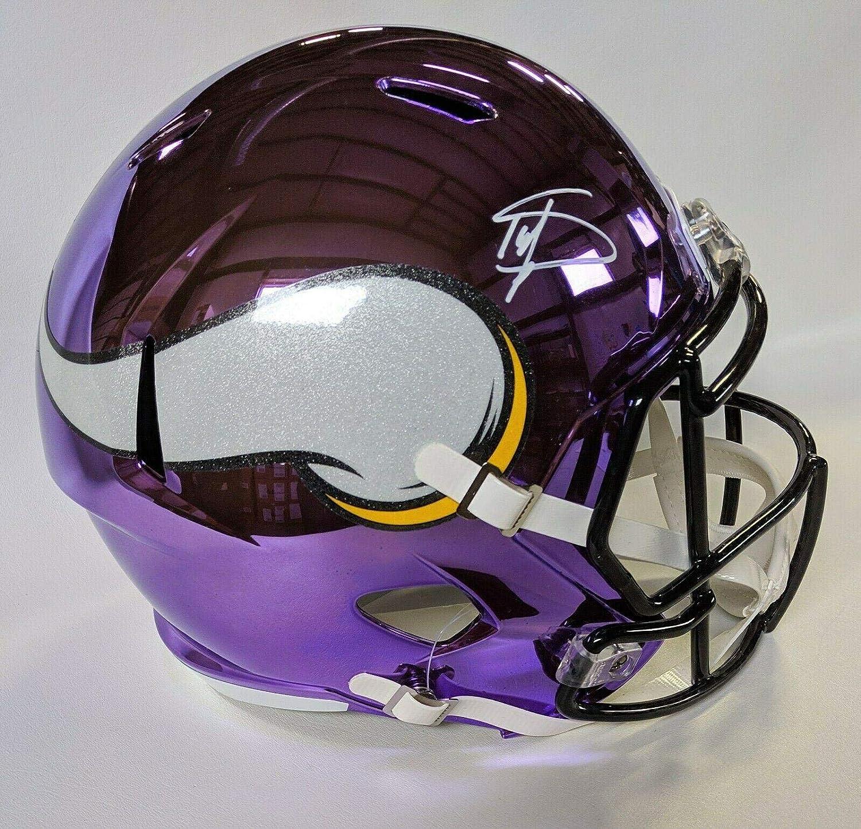 Stefon Diggs Signed Helmet  Chrome Speed Replica F s W Beckett Coa  Beckett Authentication  Autographed NFL Helmets