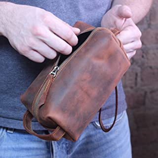c9639f44d8 Monogrammed Rustic Leather Dopp Kit - Handcrafted Personalized Distressed  Leather Mens Toiletry Bag