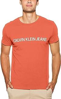 Calvin Klein Jeans Men's Institutional Logo Slim Fit T-Shirt, Coral/WHT, S