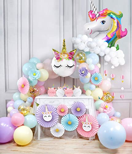 Party Propz Unicon Theme Party Supplies Combo Paper fan, Foil Balloon, Unicorn Head Balloon, Star And Latex Balloon S...