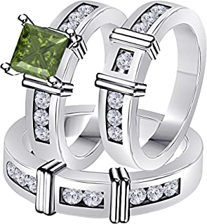 Jewelryhub 2.10 Carat Synthetic Green Tourmaline Princess Cut & Round CZ Diamond 14k Black Gold Over Silver Engagement His & Her Wedding Engagement Trio Ring Set In Express Shipping