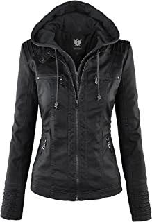 Lock and Love Women's Removable Hooded Faux Leather Moto Biker Jacket (XS~2XL)