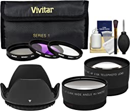 Vivitar 3-Piece Multi-Coated Glass Filter Kit (52mm UV/FLD/CPL) with 2.5X Tele/.45x Wide Lenses + Hood + Cleaning Kit