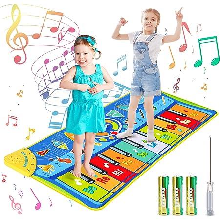 joylink Tapis de Piano Musical, Tapis Musical Enfant Piano Tapis Tapis de Jeu pour Piano Tapis de Musique avec 10 Touches et 8 Sons d'animaux Danse Piano Tapis Jouet de Tapis de Musique(130 x 48 cm)