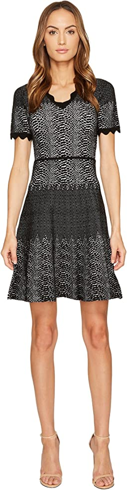 Snakeskin Jacquard V-Neck Dress