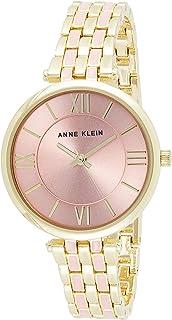 ساعة ان كلاين AK-3276PKGB للنساء بسوار ذهبي وزهري