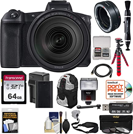 $2849 Get Canon EOS R Full Frame Mirrorless Digital Camera & 24-105mm f/4 L is Lens + Mount Adapter + 64GB Card + Battery + Filters + Backpack + Strap + Tripod + Flash Kit