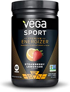 Vega Sport Premium Energizer, Strawberry Lemonade Pre-Workout Energy Drink - Certified Vegan, Vegetarian, Gluten Free, Dai...