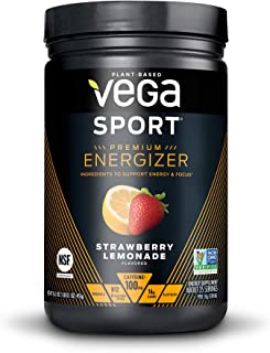 New Vega Sport Premium Energizer Strawberry Lemonade (25 Servings, 16.1 oz) - Vegan, Gluten Free, All Natural, Pre Workout Powder, Non GMO (Packaging may vary)