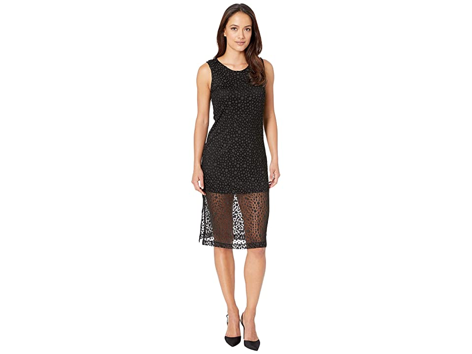 Nally & Millie Sleeveless Polkadot Double Layer Dress (Black) Women