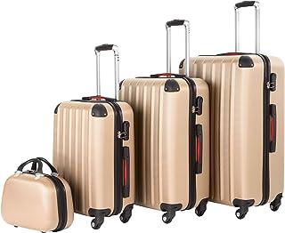 tectake 800763 Lot de 4 Valises de Voyage en ABS, Empilables, Poignée Télescopique, avec Valises à roulettes et Trousse de...