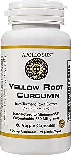 APOLLO SUN Yellow Root Curcumin from Turmeric Root Extract (Curcuma Longa) 630 Milligrams as a Dietary Supplement (60 Vega...