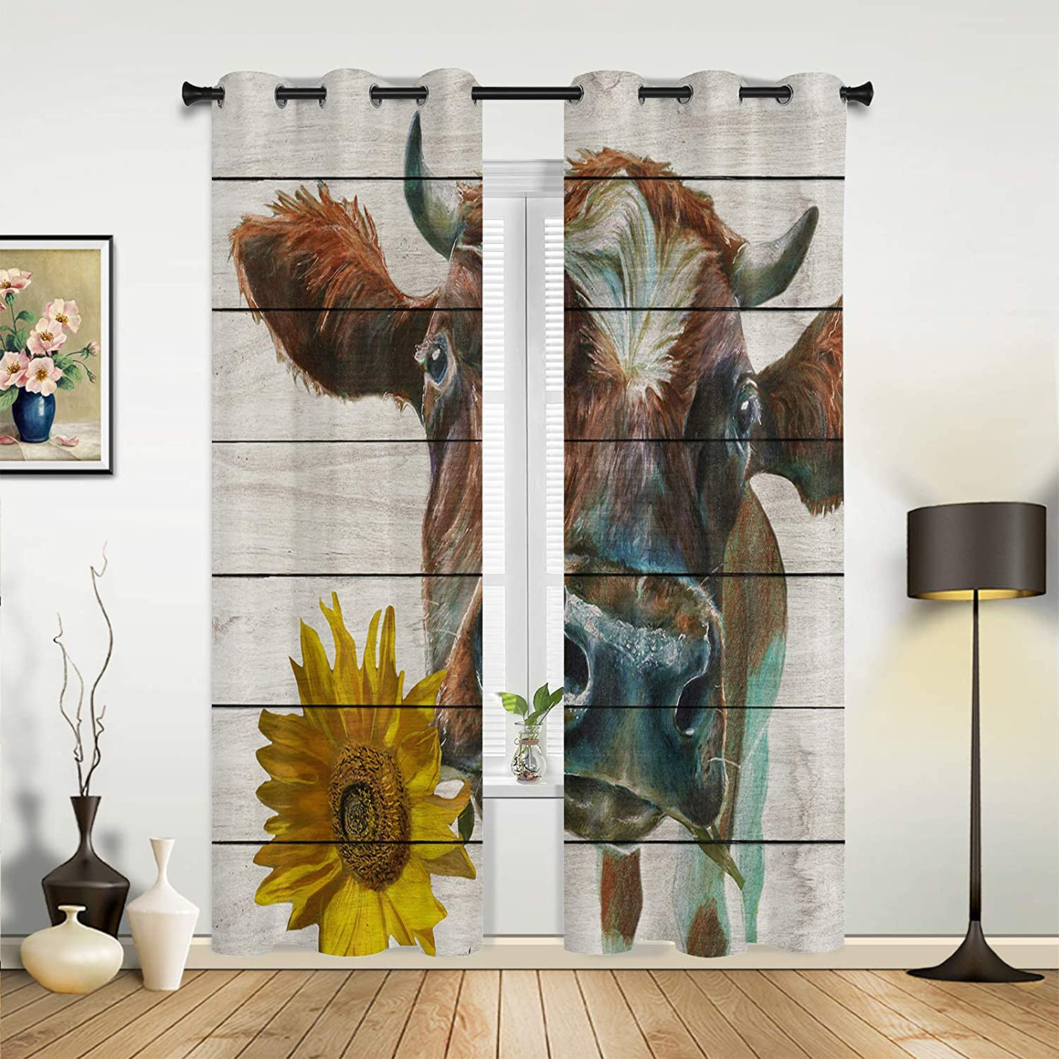 Window Gifts Sheer Curtains for Bedroom Manufacturer direct delivery Living Cow S Holding Room Farm