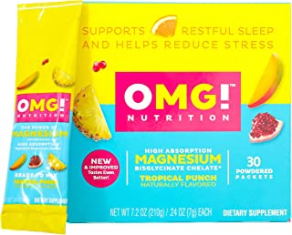 OMG! Nutrition Magnesium Glycinate Chelate Drink Mix | Supplement for Stress Relief and Better Sleep – Tasty, High Absorpt...