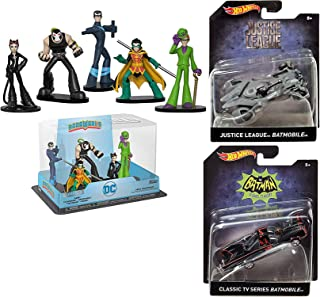 LeagueBat BatMan Series DC Collection Hot Wheels 2 Super Hero Batmobile Batman car TV Classic /Justice League Gray 1:50 scale die-cast + Bundled with Bane, Catwoman, Nightwing, Riddler & Robin Figures