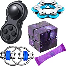 5 Pieces Fidget Toy Set Include Six Roller Chain Fidget, Key Flippy Chain Starry Infinity Cube and Fidget Controller Pad S...