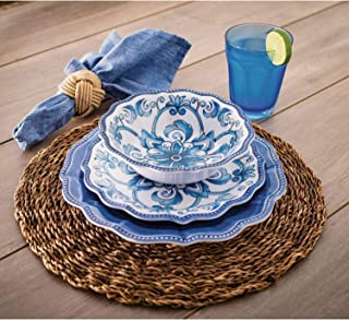 18 Piece Melamine Dinnerware Set Blue