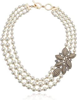 Women's Gold-Tone Blanc Pearl Torsade Strand Necklace, Gold/White, 0