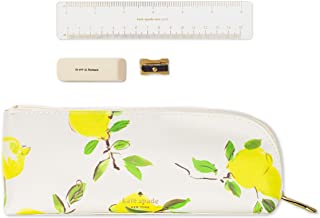 Kate Spade New York Pen and Pencil Case with Ruler, Sharpener, and Eraser, Zipper Pouch Organizer for Office/School Supplies, Lemons