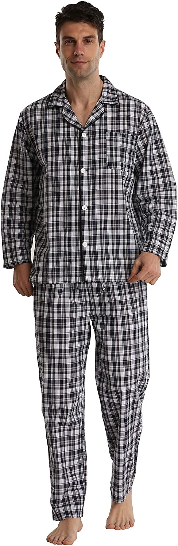 Mens Pajamas Set Cotton Long Sleeve Lightweight Sleepwear Plain Woven Loungewear Broadcloth PJ Set with Pocket