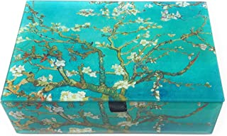 Value Arts Van Gogh's Almond Blossoms Glass Keepsake Box, Beveled Glass, Velvet Lined, 5.75 Inches Wide