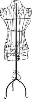 MyGift Designers Black Metal Adjustable Height Wire Frame Dress Form Display Stand