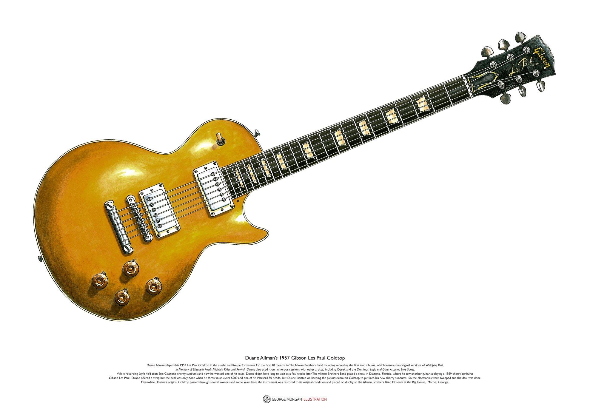 George Morgan Illustration Duane Allman 1957 Gibson Les Paul ...