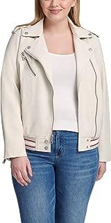 Women's Plus Size Rib Knit Faux Leather Moto Bomber Jacket