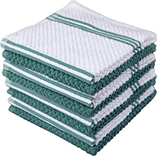 Sticky Toffee Cotton Terry Kitchen Dishcloth, 8 Pack, 12 in x 12 in, Blue Stripe