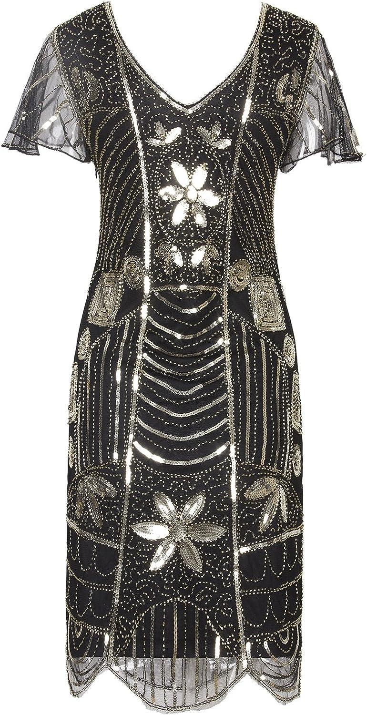 VIJIV Vintage 1920s Deco Beaded Sequin Embellished Flapper Dress with Sleeves