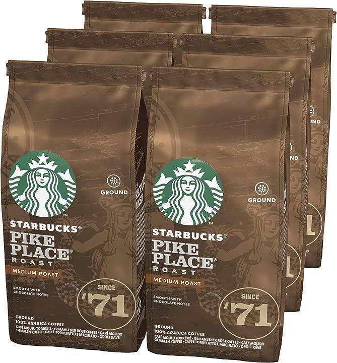 Caffè macinato starbucks pike place dalla tostatura media 6 sacchetti da 200 g B07X1YV4B6