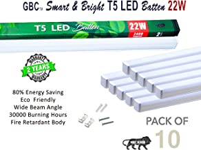 GBC LED Tube Light Fixture,Cool White Batten, 22W LED Integrated Lights, 2400 lm Lumens, 6500K Daylight, Input 220-240V 50-60 HZ, Ceiling Tube garage Light with Brackets Milky Cover, 2 YEAR WARRANTY! Pack of 10